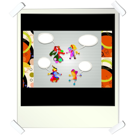Collage card with children made from circles with speech bubbles on a photo frame  Vector