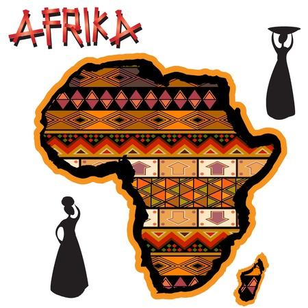 siluetas mujeres: Continente africano, con tapa tradicional y siluetas de las mujeres africanas sobre fondo blanco