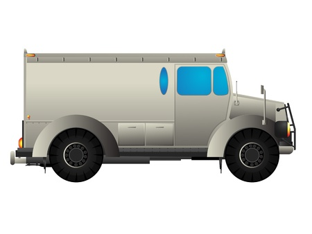Armored money transport car over white Vector