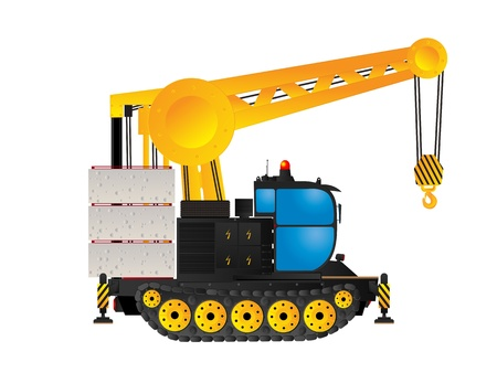 Industrial track crane, isolated and grouped objects over white background Stock Vector - 12884901