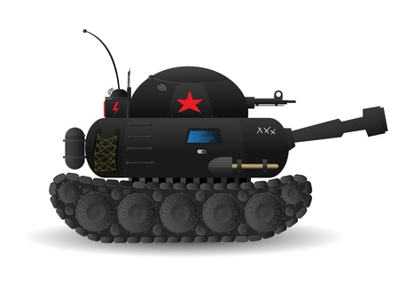 Stylized cartoon tank on white background  Vector