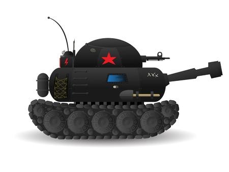 battle tank: Stylized cartoon tank on white background