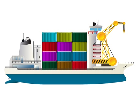 container cargo ship: Container ship, isolated and grouped objects against white background Illustration