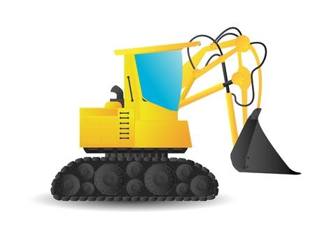 Stylized cartoon excavator on white background