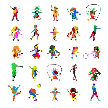kinder: Kids kids kids, collection of against white background Illustration