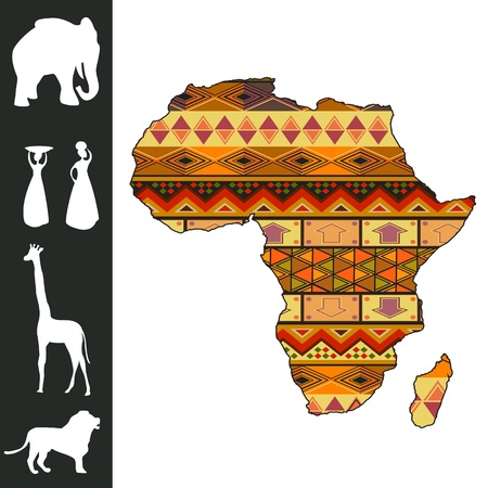 yellow african: Map of Africa with decorative pattern and silhouette collection
