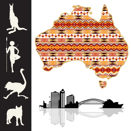 australia landscape: Map of Australia with decorative pattern and silhouatte collection