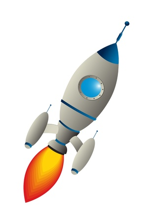 nave espacial: Clip art rocket against white background
