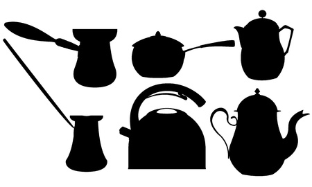 Coffee and tea recipients silhouettes against white background Vector