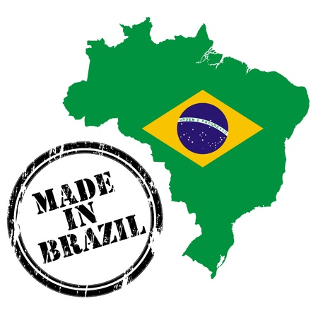 Made in Brazil, stamp, map and flag of against white Vector