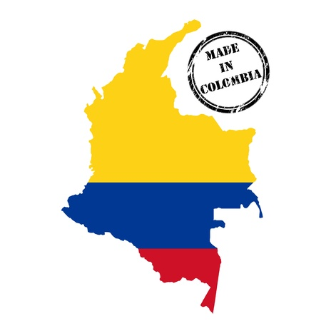 colombia flag: Made in Colombia, stamp, map and flag of against white