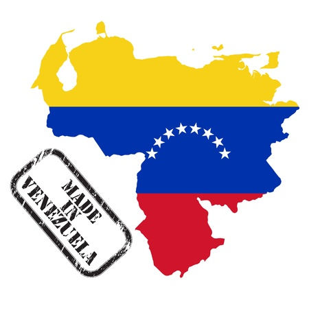 Made in Venezuela, stamp, map and flag of against white Vector