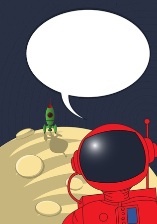 space suit: Stranded astronaut with speech bubble, comic art style graphic Illustration
