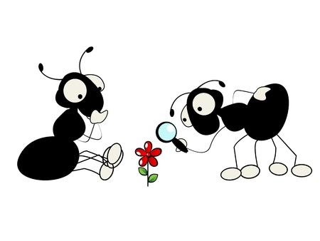 hormiga hoja: Cartoon ilustración de dos hormigas y una flor Vectores