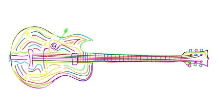 Stylized electric guitar sketch on white background  Vector