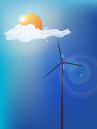 alternatively: Modern windmill, alternative energy background  Abstract art  Illustration