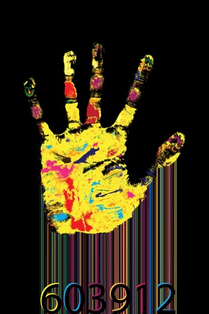 codebar: Multicolored hand print and bar-code against black background. Illustration