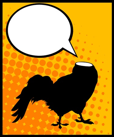 Conceptual comic style graphic of a headless rooster and speech bubble Vector