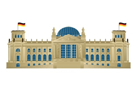 Detailed illustration of Berlin's parliament, Reichstag. Isolated and grouped objects over white background. Vector
