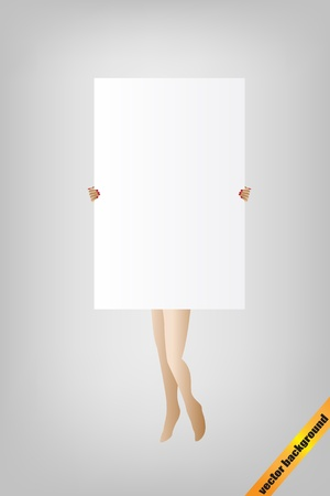 presentation board: Attractive girl silhouette holding a empty banner, presentation board