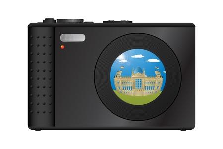 Compact digital camera with snapshot of Berlin Vector