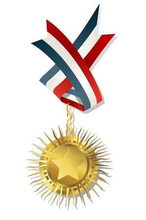 perfection: Golden star award with medal, chain and ribbon. Isolated and grouped objects on white background.