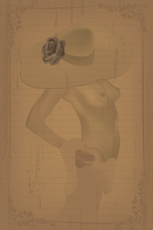 girl pose: Grunge style graphic with a nude of a woman and rose hat. Gradient mesh and transparency effect. Illustration