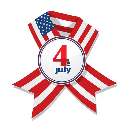 4th of July Independence Day badge with ribbon isolated on a white background. Vector