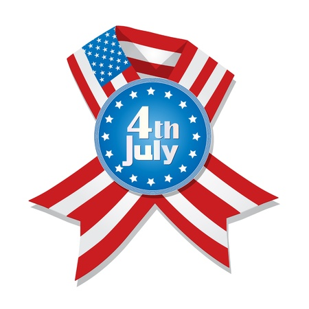 4th of July badge and ribbon with flag of United States of America against white