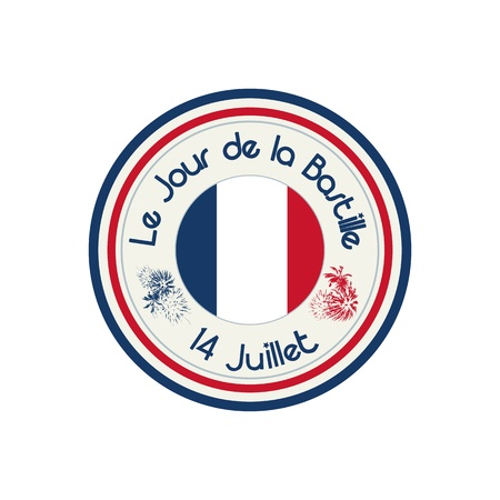 bastille: Bastille Day celebration stamp with flag of France over white background