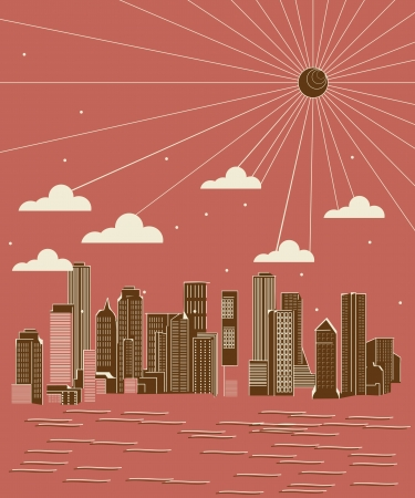 backspace: Stylized city skyline in brush strokes, abstract art illustration