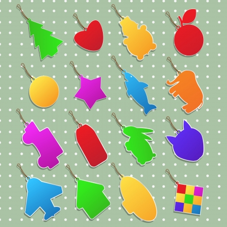 Collection of stickers in different shapes and colors Stock Vector - 13654973