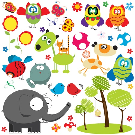 whimsical: Large set of design elements over white background, animal, bird, insect and plants collection Illustration