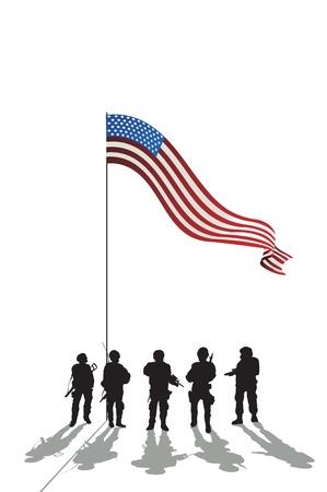 silhouette soldat: Cinq soldats silhouette et un drapeau américain et de réflexion