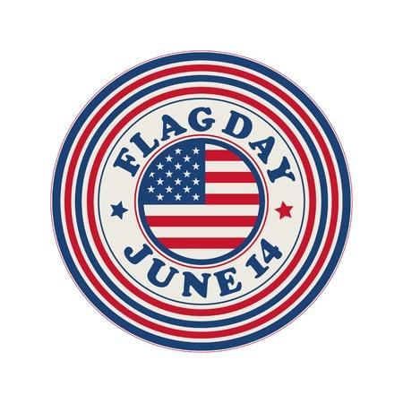 14th: Flag Day celebration stamp over white background