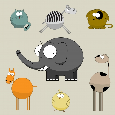 Funny cartoon animals collection, graphic art  Vector
