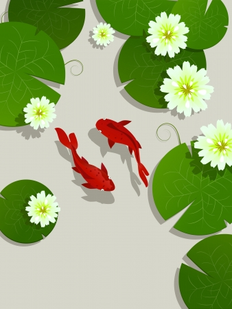 room for text: Koi fish and lotus leaves and flowers background card with room for text