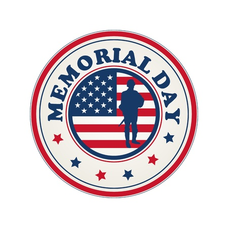 Memorial Day stamp with flag of USA and soldier silhouette over white background Иллюстрация