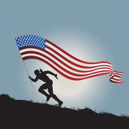 silhouette soldat: Ex�cution silhouette soldat avec le drapeau des �tats-Unis d'Am�rique