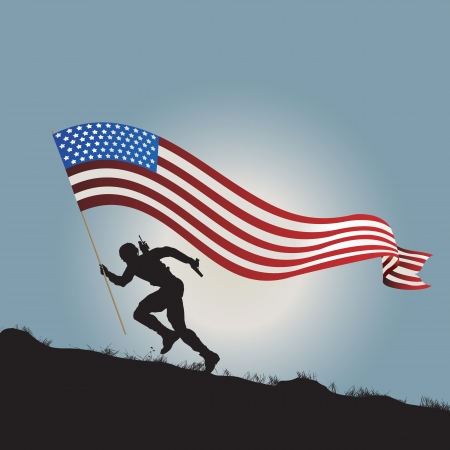 america soldiers: Running soldier silhouette with flag of United States of America