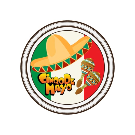 The Day of the Battle of Puebla, Cinco de Mayo, celebration stamp over white background 일러스트