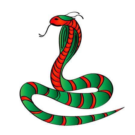 Stylized Cobra snake over white background, clip art Stock Vector - 13798469