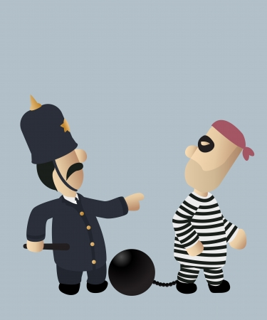 An image of a police officer chasing a thief Illustration