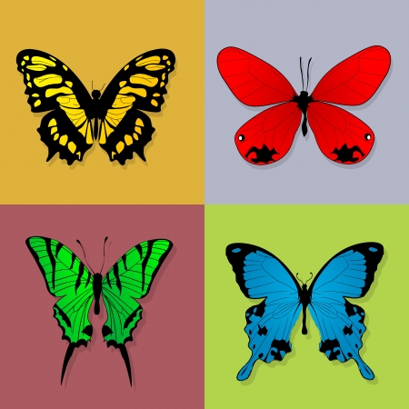 Four grunge style butterflies in squares  Isolated and grouped design elements Stock Vector - 13798500