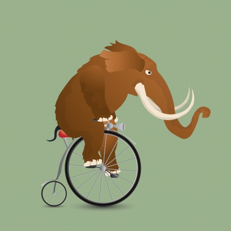 Mammoth on a bicycle 일러스트