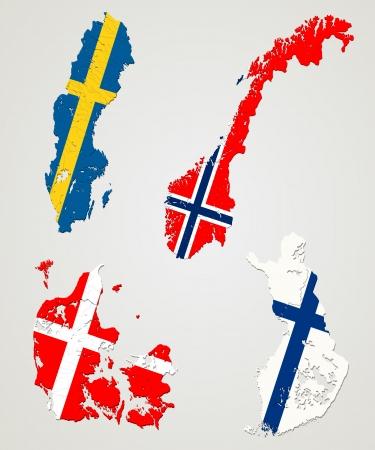 地図と 4 つの主要な北欧諸国ノルウェー、スウェーデン、フィンランド、デンマークの国旗  イラスト・ベクター素材