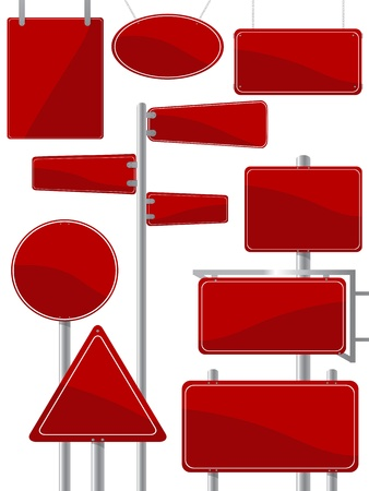 Image shows a street sign collection in red colors against white background Vetores