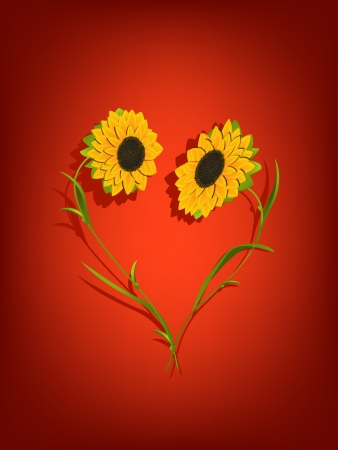 Decorative background with sunflowers forming a heart shape  Transparency effect and mesh gradient used  Vector