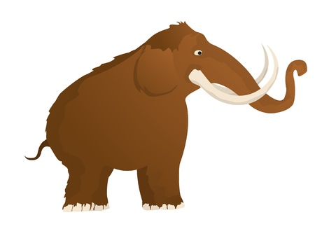 Woolly mammoth, isolated and grouped objects over white background