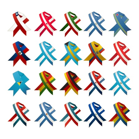 paraguay: Country flag award ribbons set against white background  Illustration
